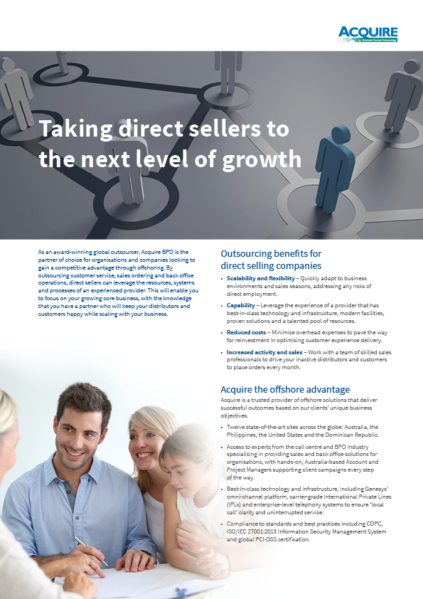 Back-office, sales support for the Direct Selling industry