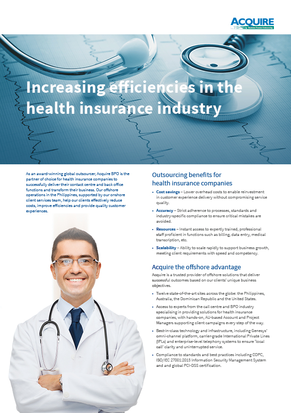 Outsourcing for the Health Insurance industry