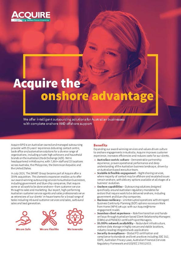 Acquire the onshore advantage