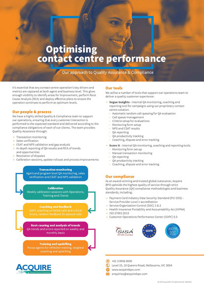 Optimise contact centre performance through Quality Assurance & Compliance