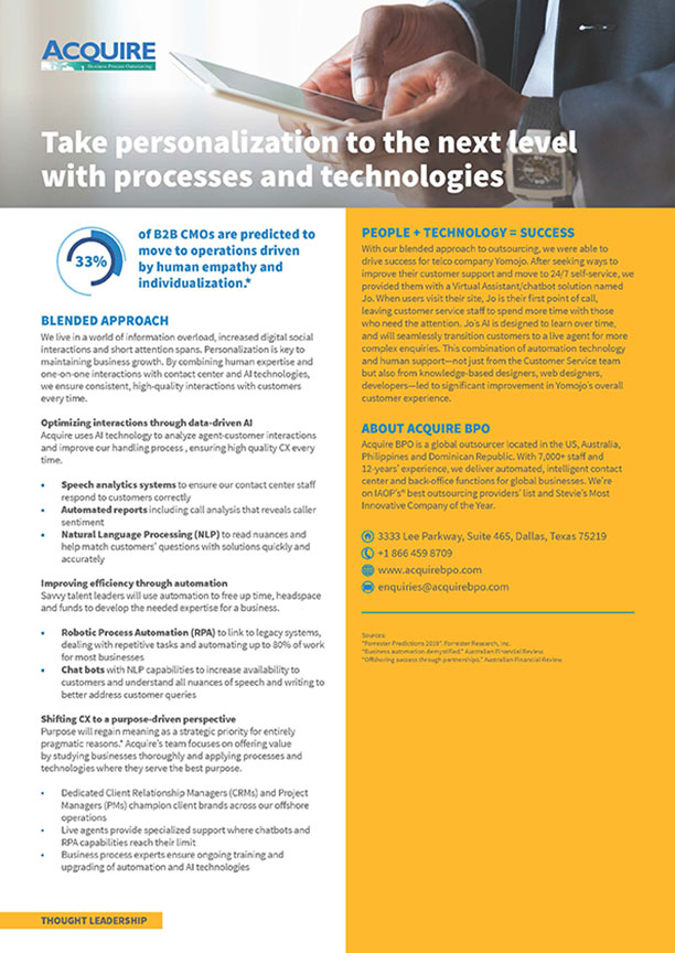 Take personalisation to the next level with processes and technologies